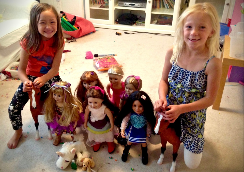 Lex and Liv with dolls